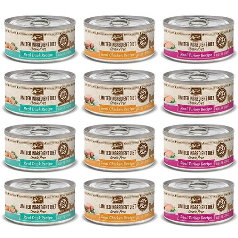 Merrick Limited Ingredient Diet Grain Free Wet Canned Cat Food Variety Pack, 5 ounce Cans, (4) Real Chicken Recipe, (4) Real Turkey Recipe, (4) Real Duck Recipe (12 Pack Bundle)