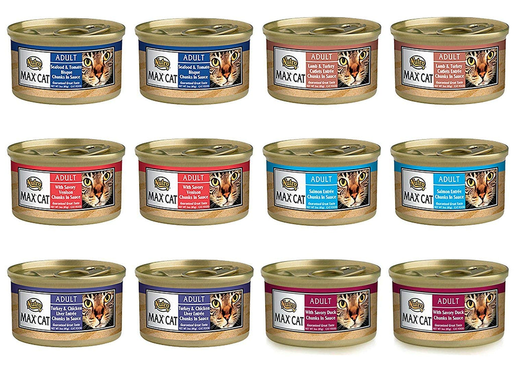 Nutro Max Cat Adult Canned Food 6 Flavor Variety Bundle: (2) Turkey & Chicken Liver, (2) Seafood & Tomato Bisque, (2) Duck, (2) Lamb & Turkey Cutlets, (2) Venison & (2) Salmon, 3 Oz Ea (12 Cans Total)