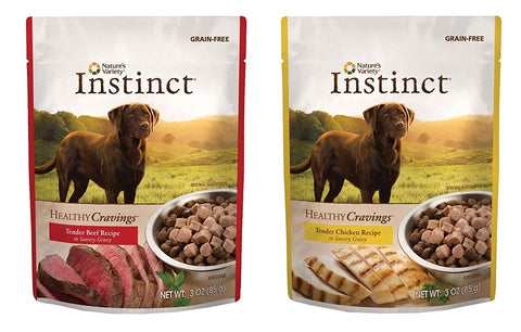Nature's Variety Instinct Healthy Cravings Grain-Free Meal Topper for Dogs Variety Pack, 2 Flavors (Chicken & Beef), 3 oz Pouch, 12 Total Pouches