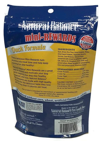 Dick Van Patten's Natural Balance Mini-Rewards Dog Treats 3 Flavor Variety Bundle: (1) Lamb, (1) Duck, and (1) Chicken, 4 Ounces each (3 Bags Total)