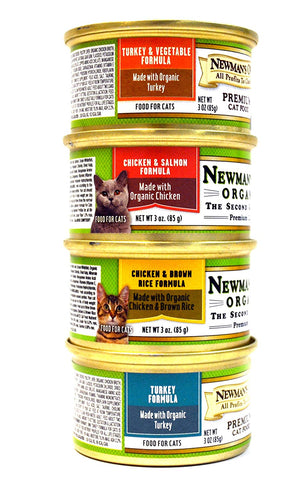Newman's Own Cat Food Variety Pack - 4 Flavors (Chicken & Salmon, Turkey, Chicken & Brown Rice, and Turkey & Vegetable) - 3 Ounces Each (12 Total Cans)
