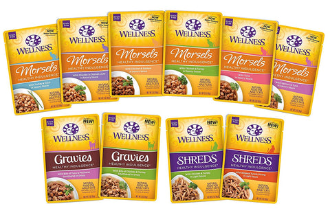 Wellness Healthy Indulgence Wet Cat Food Pouch Variety Pack, 10 Flavors, 3-Ounces Each