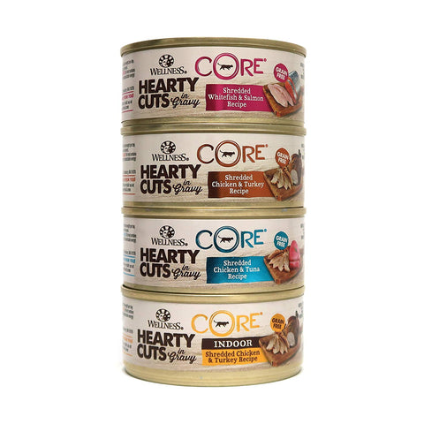 Wellness CORE Hearty Cuts Natural Grain Free Wet Canned Cat Food Variety Pack - 4 Flavors - 5.5-Ounce Cans (3 of Each Flavor - 12 Total Cans)