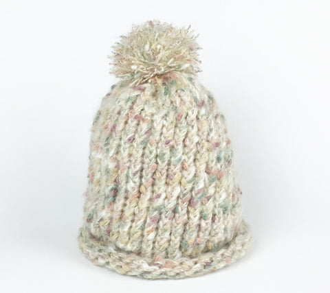 Fuzzy Loomed Hat - Soft Pastels