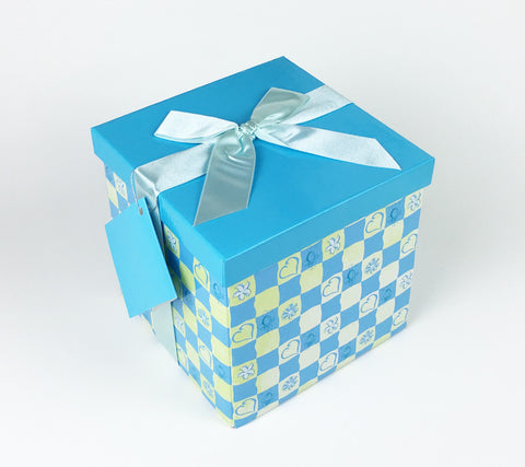 Gifting Set - Large, Blue with Hearts and Flowers