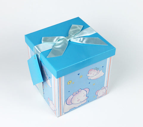 Gifting Set - Large, Blue with Pink Elephants and White Stripes