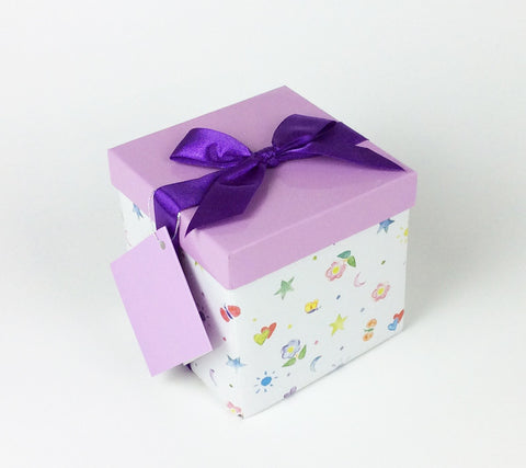 Gifting Set - Medium-Small, Purple with Retro Drawing Doodles