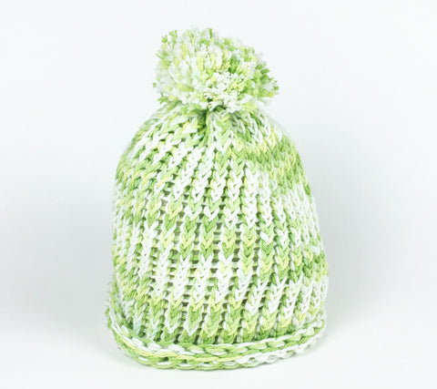Fresh Lime and White Loomed Hat