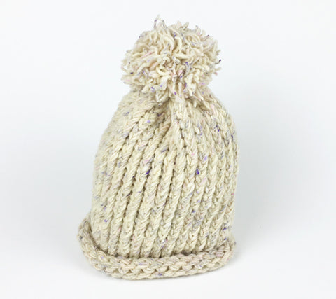 Nubby Loomed Hat - Soft Pastels