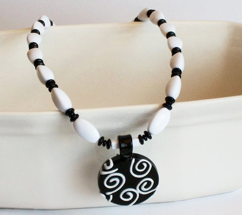 Black & White with Swirls Necklace