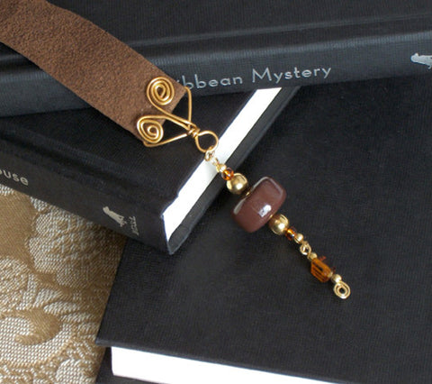 Deep Chocolate Brown with Golden Swirls Bookmark