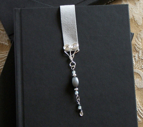 Soft Gray with Silvery Spirals Bookmark