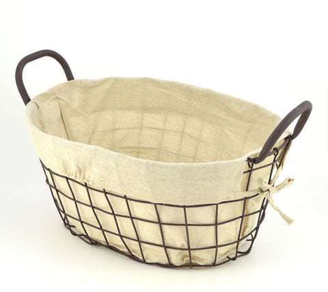 Oval Lined Metal Wire Basket