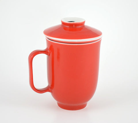 Red Steeping Mug covered.