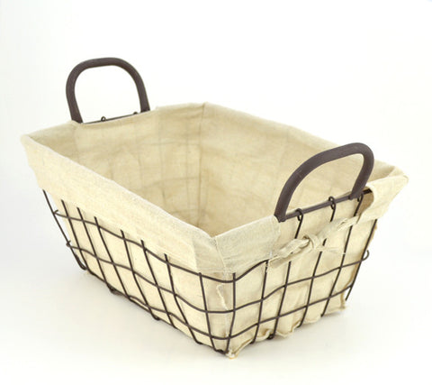 Square Lined Metal Wire Basket