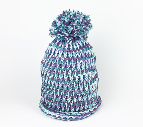 Stylish purples and teals loomed hat.