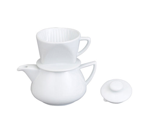 Contemporary White Teapot with Pour-over Coffee Maker
