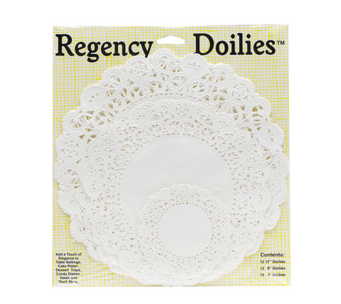 White Paper Doilies in assorted sizes.