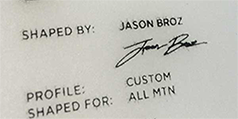 custom snowboard shapt by Jason Broz and other information