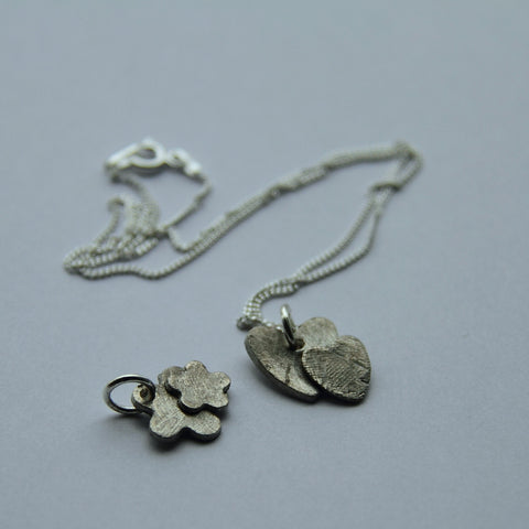 Heart and Flowers Silver Necklaces