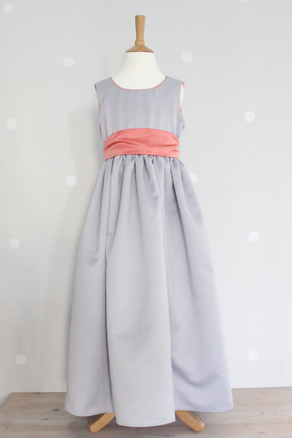 Waisted dress with Contrast Piping in coral ex display Age 7-8