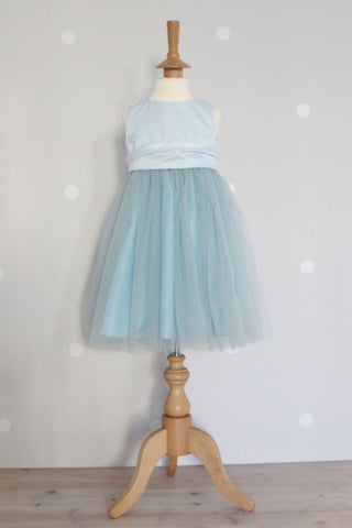 Waisted dress with tulle skirt