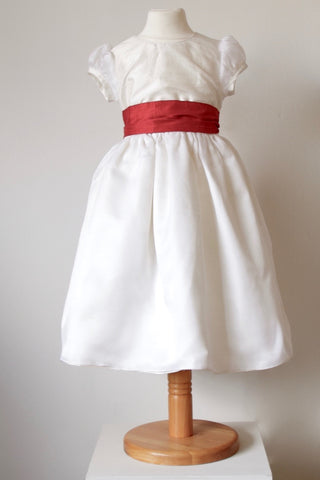 Waisted dress with Small Puff sleeve and Organza overskirt