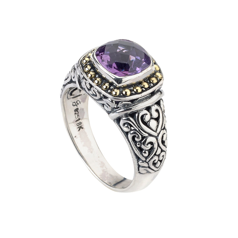 Samuel B. Sterling Silver and 18K Gold Amethyst Ring (91491)