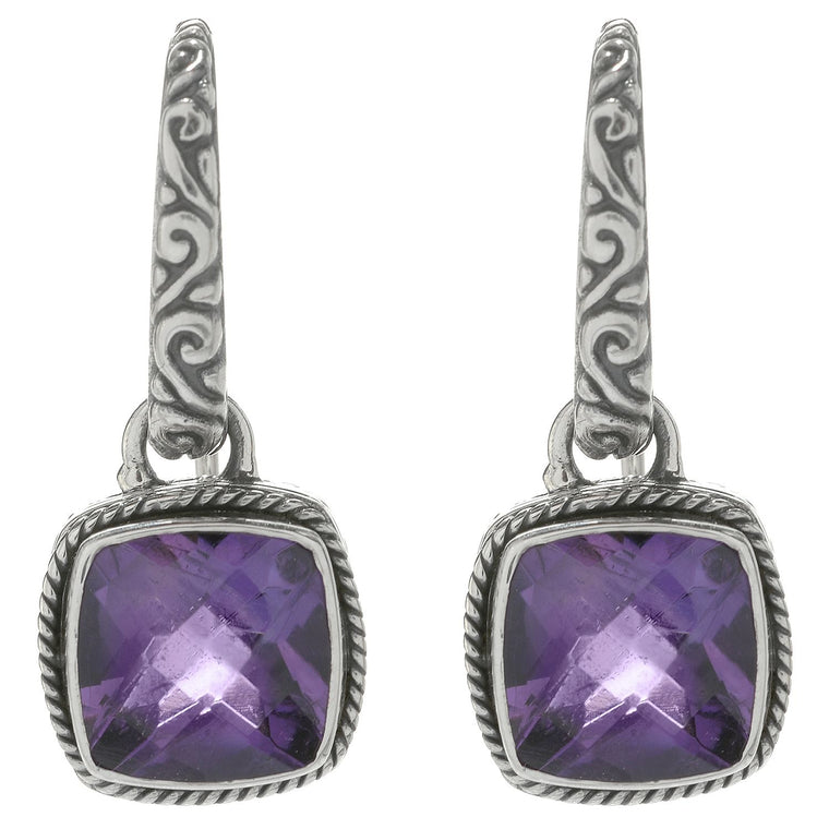 Samuel B. Sterling Silver and 18K Gold Floral Amethyst Earrings (91424)