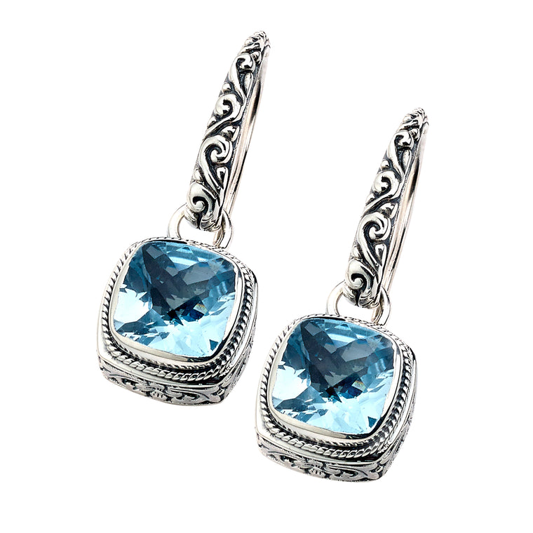 Samuel B. Sterling Silver and 18K Gold Floral Blue Topaz Earrings (91425)