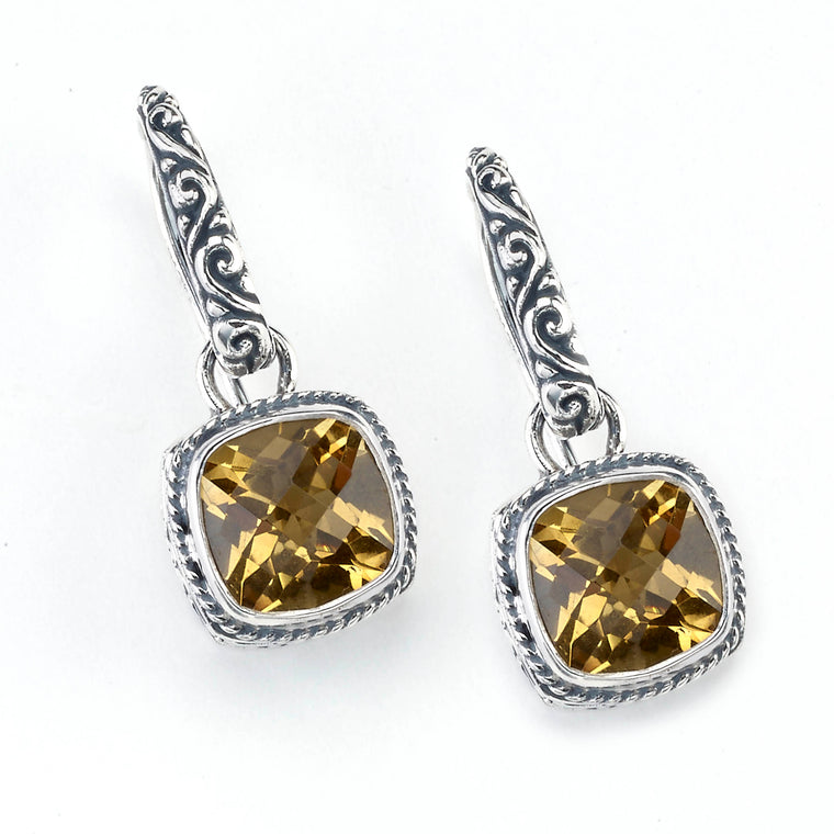 Samuel B. Sterling Silver and 18K Gold Floral Citrine Earrings (91426)