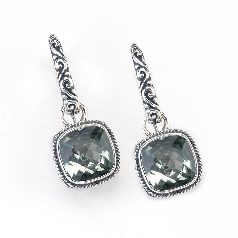 Samuel B. Sterling Silver and 18K Gold Floral Green Amethyst Earrings (91427)