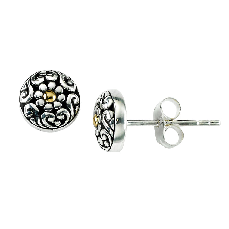 Samuel B. Sterling Silver and 18K Yellow Gold Floral Design Stud Earrings (91442)