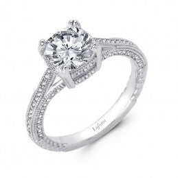 Lafonn Cushion Cut Lassaire Simulated Diamond Solitaire Ring in Sterling Silver Bonded with Platinum