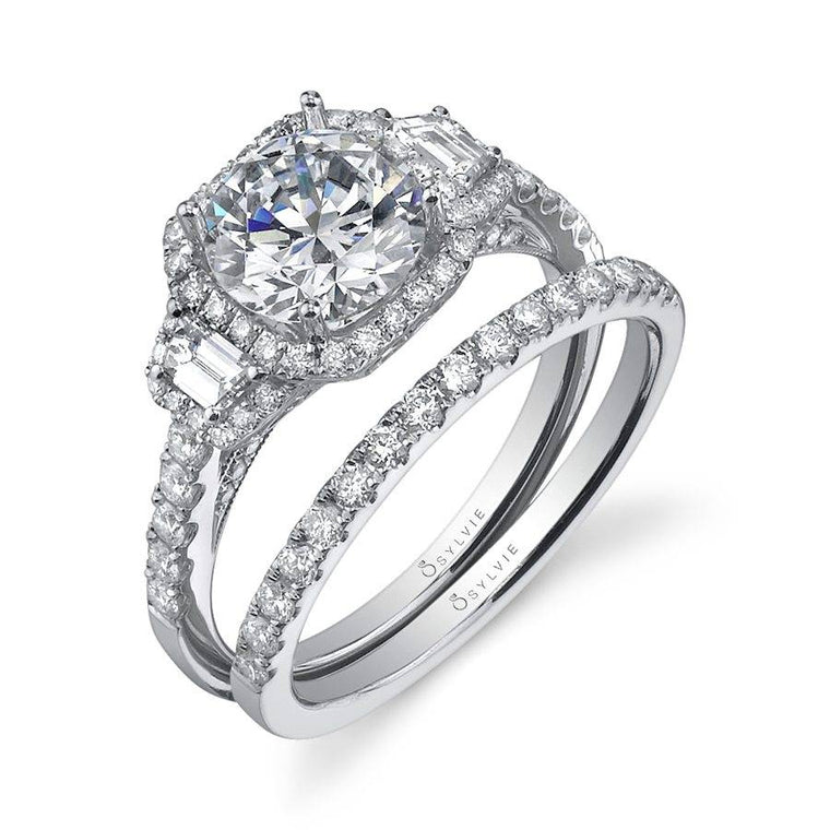 14K White Gold Sylvie .72ctw Diamond Engagement Semi-Mount (77267)