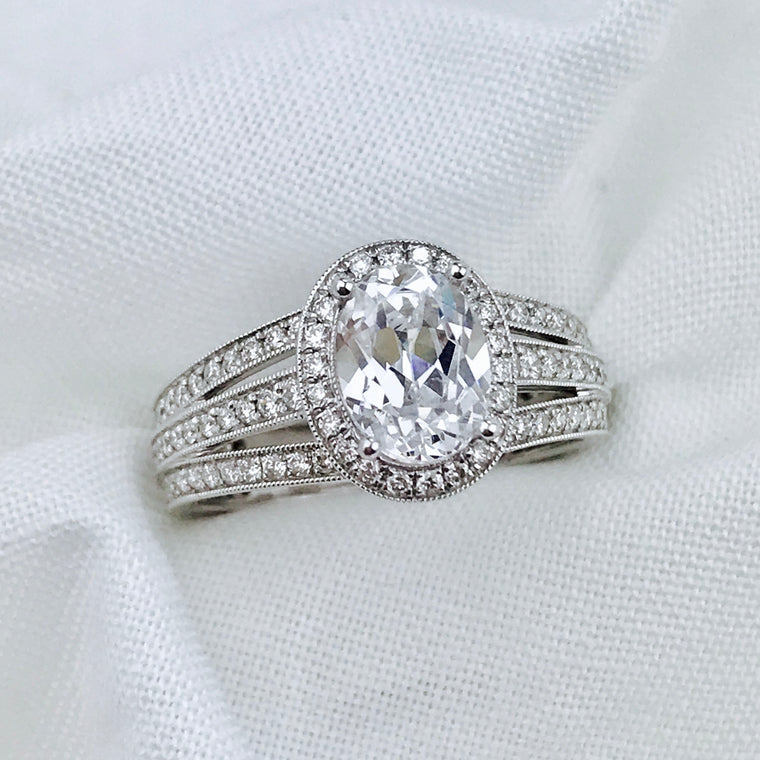 14K White Gold Sylvie .72ctw Diamond Engagement Ring