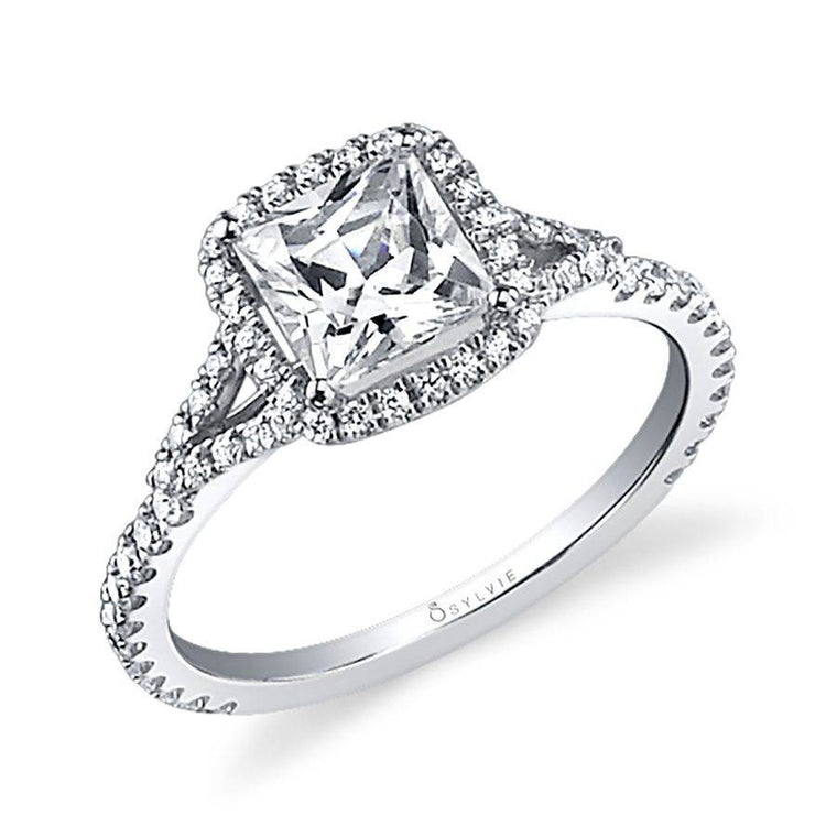 14K White Gold Sylvie .39ctw Diamond Engagement Semi-Mount (77283)