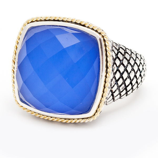 Andrea Candela 18k Gold and Sterling Silver Blue Agate Doublet Ring, Size 7 (80233)