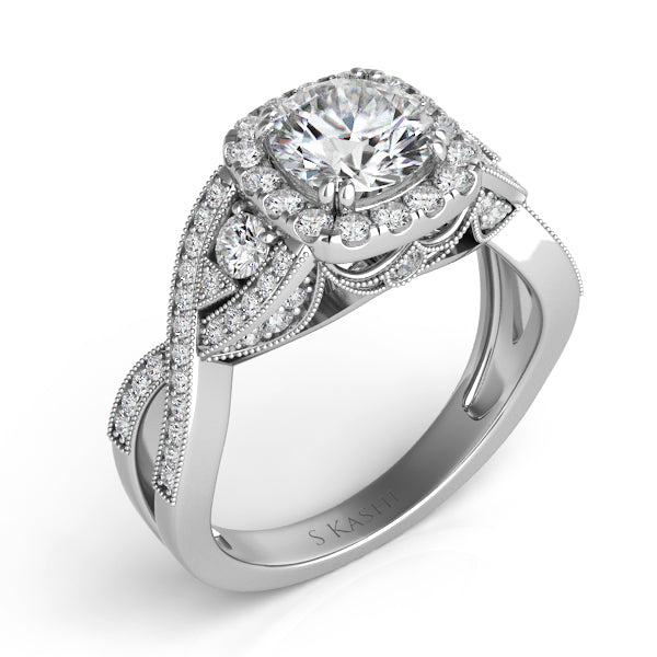 14K White Gold .66ctw Diamond Engagement Ring (80241)