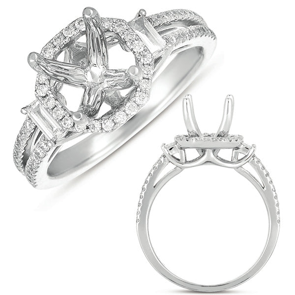14K White Gold .56ctw Diamond Engagement Ring (80243)