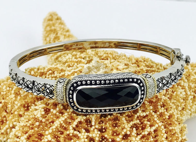 Andrea Candela 18K Gold and Sterling Silver Diamond and Black Onyx Bangle (80258)