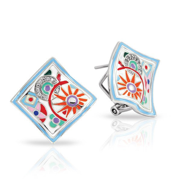 Belle e'toile Sterling Silver  Pashmina White Earrings (81269)