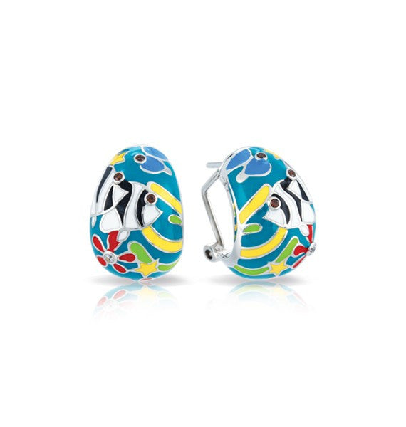 Belle e'toile Sterling Silver Angelfish Teal Earrings (81290)