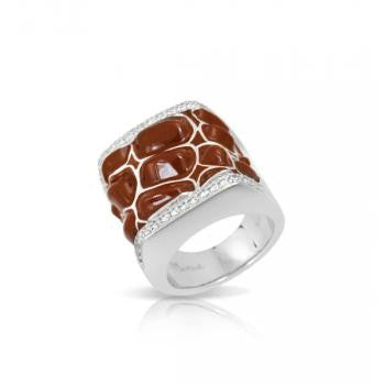 Belle e'toile Sterling Silver Coccodrillo Brown Ring, Size 7 (81298)