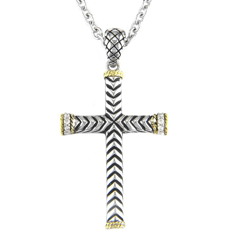 Andrea Candela 18K Yellow Gold and Sterling Silver Diamond Cross Necklace (81629)