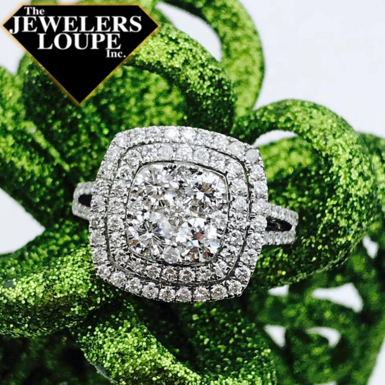 14K White Gold 1.07ctw Diamond Square Double Halo Cluster Ring (82565)
