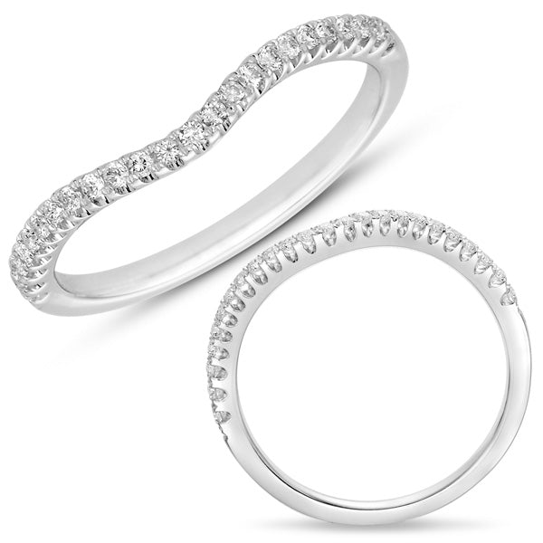 14K White Gold .17CTW Diamond Curved Engagement Band (82577)
