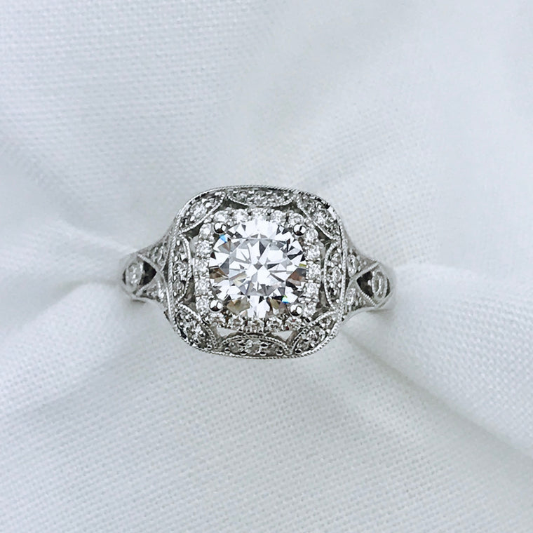 14K White Gold Sylvie .44ctw Diamond Engagement Semi-Mount (82771)