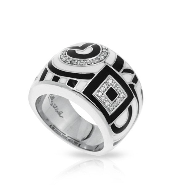 Belle e'toile Sterling Silver Geometrica Black and White Ring, Size 7 (83069)