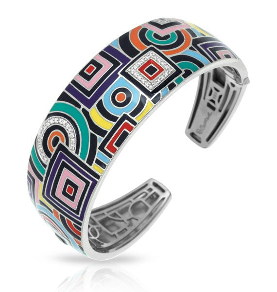 Belle e'toile Sterling Silver Geometrica Multi-Colored Bracelet, Medium (83070)